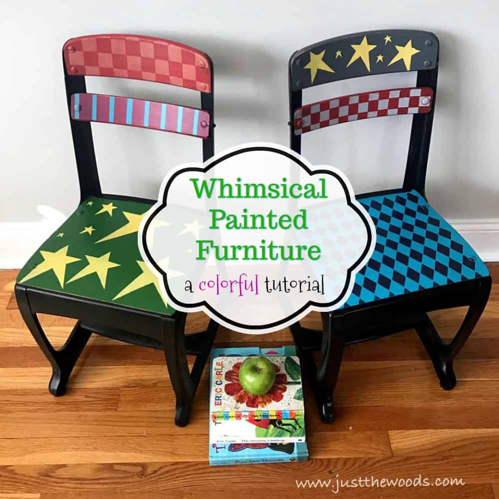 funky wooden chairs knoll dining whimsical painted furniture a colorful makeover you ll love