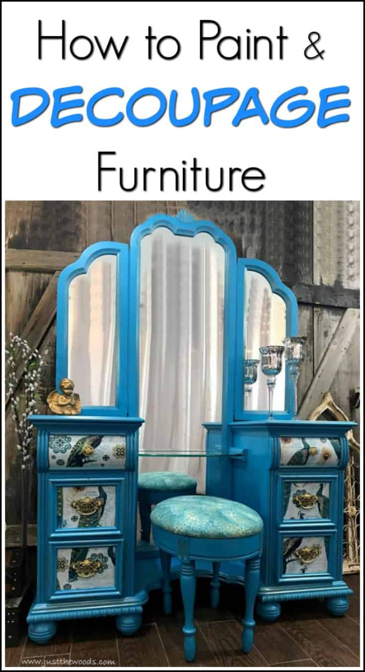 How to Paint  Decoupage Furniture  a Bold Peacock Vanity