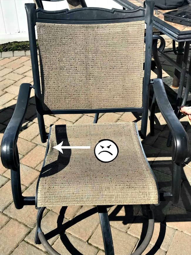 redo sling patio chairs fuzzy feet chair gliders how to save yourself money with diy repair broken slings fix outdoor furniture