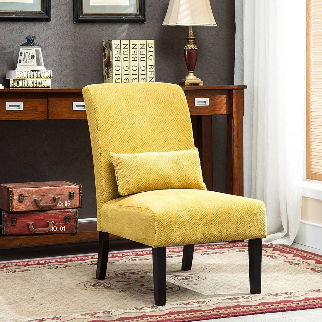 Yellow Armless Accent Chair