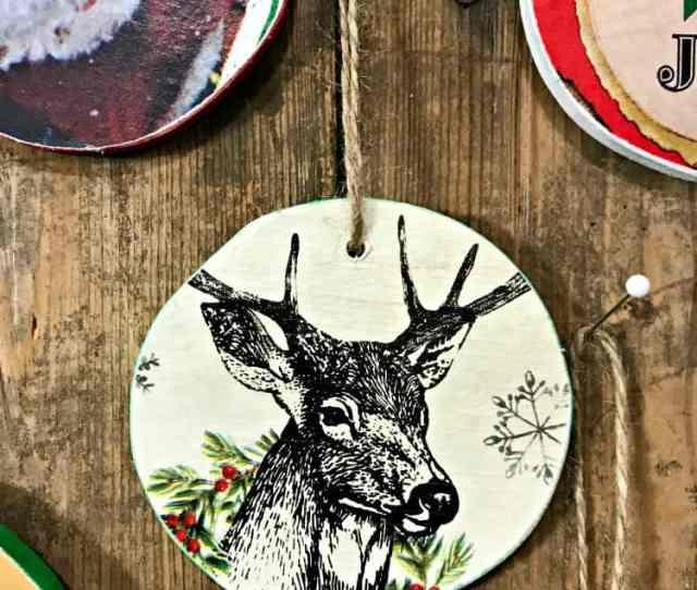 Homemade Christmas Ornaments Santa Ornaments Deer Ornaments Rustic Ornaments