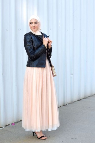 Leather jacket, tulle skirt,