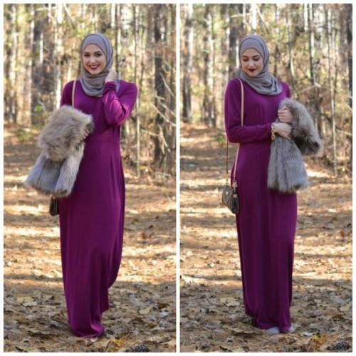 fur vest with maxi dress