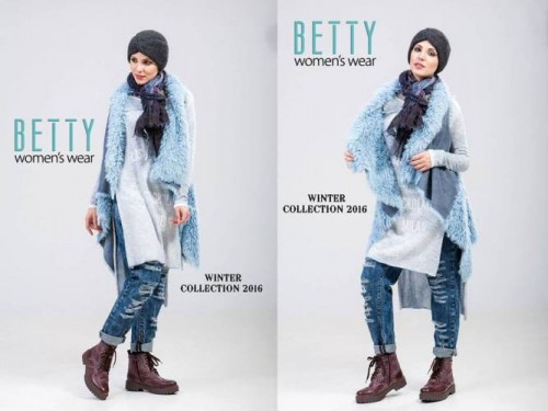 blue vest hijab winter outfit
