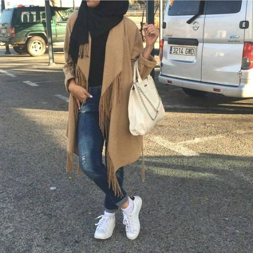 fringe coat hijab look