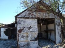 An old mining building where rock core samples were stored.