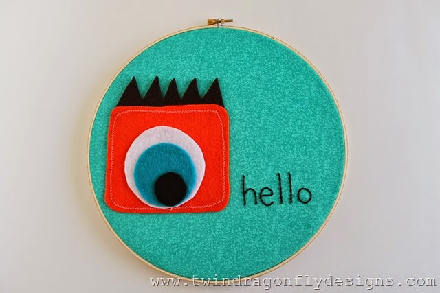 01 - 733 Blog - Monster Embroidery Hoop Art
