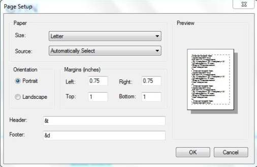 header footer dialog box - notepad tricks