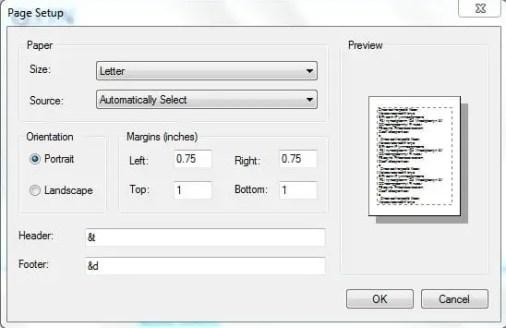 header footer dialog box - notepad tricks