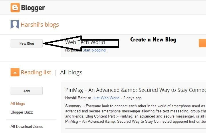 Create a New Blog with Blogger