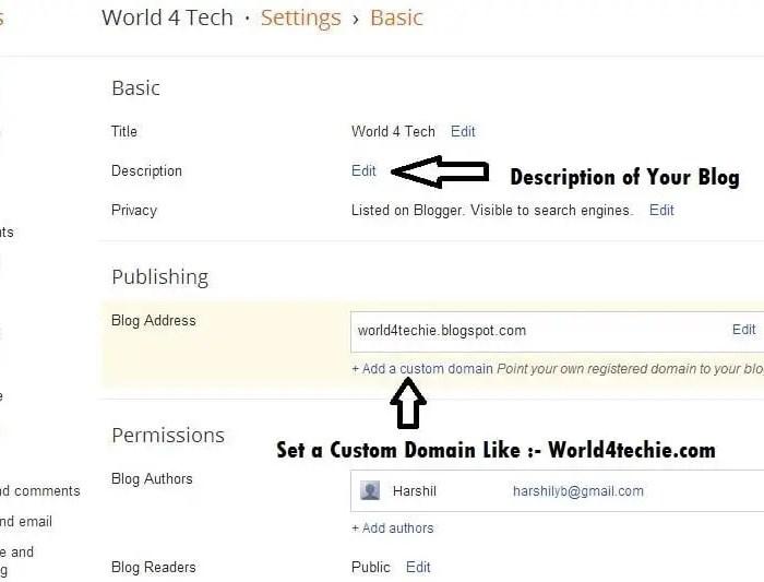 Set a Custom Domain for Blogger Blog