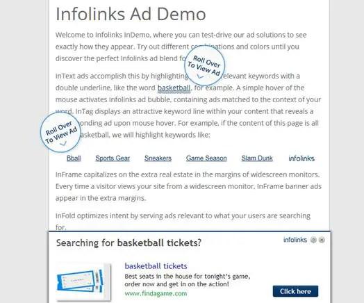 Monetize Blog Building Brand Authority Infolinks Ad Demo