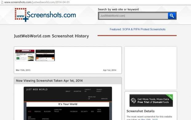 wayback machine alternative Screenshots.Com