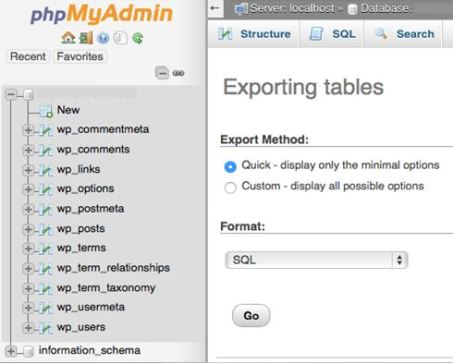 Database Export Method