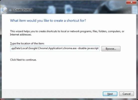 Command to Disable JavaScript in Chrome