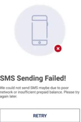 BHIM SMS Sending Failed