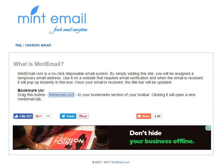 Mint Email- Fake Email Address Generator