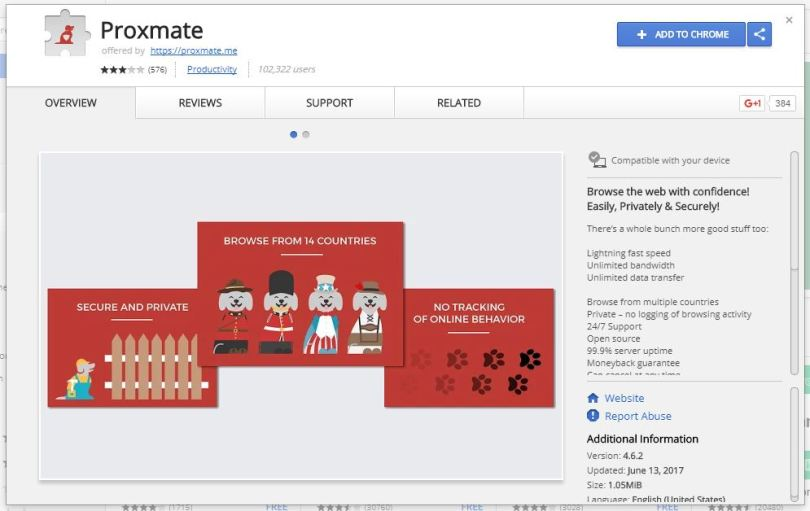 Google chrome extension Proxmate