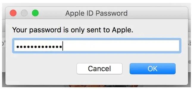 Apple ID and passcode box