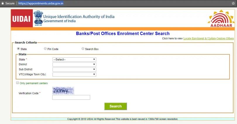 UIDAI Aadhaar Website
