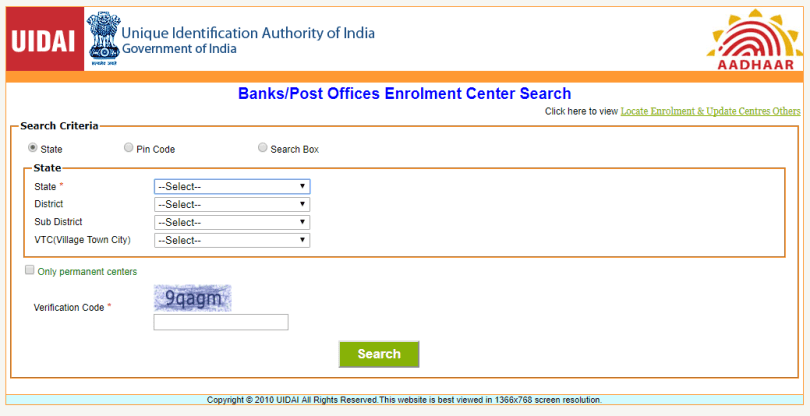 Registration for Aadhaar Card Online