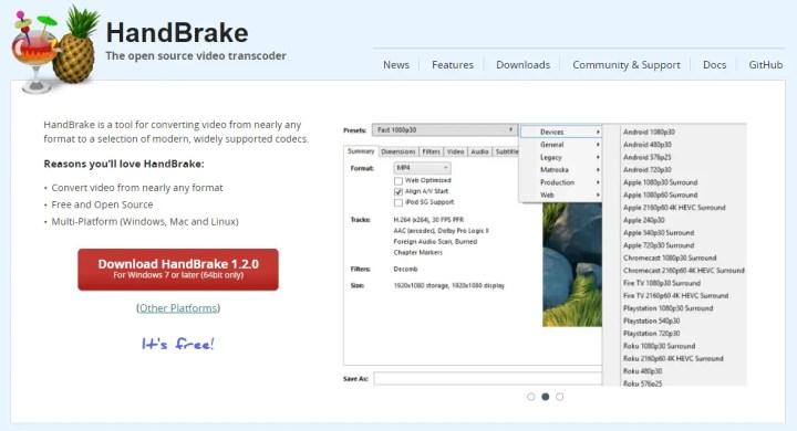 HandBrake - Downloadable software