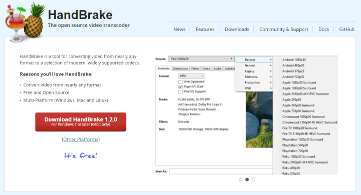 HandBrake - Downloadable software