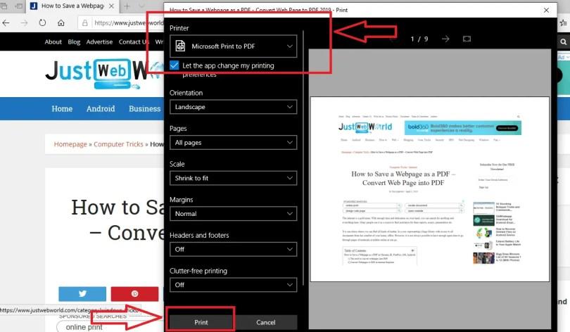 Save a webpage as a pdf internet explorer