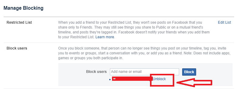 Unblock FB Users