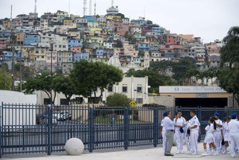 uitzicht op Las Peñas, de oudste wijk in Guayaquil