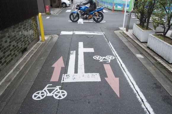 Zelfs als duidelijk aangegeven was waar je moest fietsen, wisten nog veel fietsers op de verkeerde plek te fietsen.