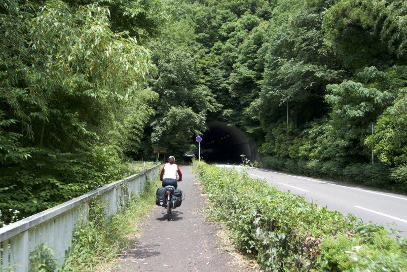 Een kort tunneltje is een gat in het groen.