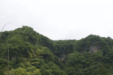 Mooie rotsen lans de Japanische Romantische Straße.