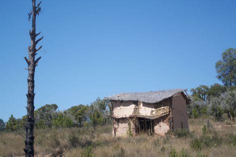 Vervallen huis langs de weg