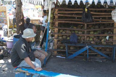 Even genieten van jonge kokosnoten met een rietje.