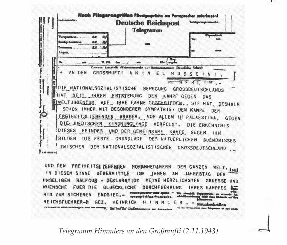 Telegramm Himmlers an den Großmufti 2.11.1943