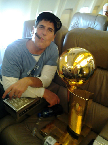 Mark Cuban aboard his 40 Million USD Gulfstream Jet with a Cigar Trophy