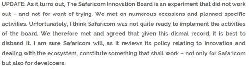 Safaricom Innovation Board Shut Down Disbandment Reason AlKags Blog Snippet JUUCHINI