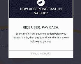 Uber Taxi Cabs Testing Cash Payments In Nairobi SCREENSHOT JUUCHINI