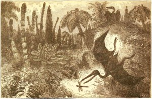 FiguierL WorldBeforeDeluge p241 Ideal Landscape of the Liassic Period