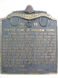 Historic marker at the winter home of Brigham Young, St. George, Utah, May 2011. The marker, which was dedicated by the Daughters of the Utah Pioneers, is crested by a beehive.
