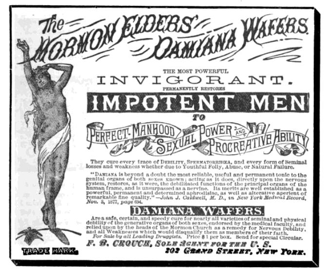 MormonEldersDamianaWafers advert CanadianPharmaceuticalJournal v19n1p13 card insert 1885Aug
