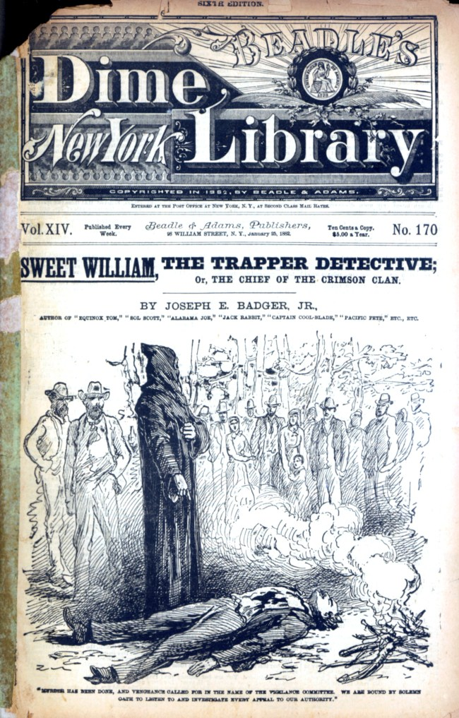 SweetWilliamTheTrapperDetective BeadlesDimeLibrary v14n170 1882 cover shows hooded mormon