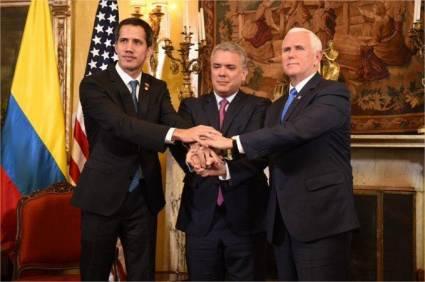Guaidó, Duque y Pence en el pacto contra Venezuela.