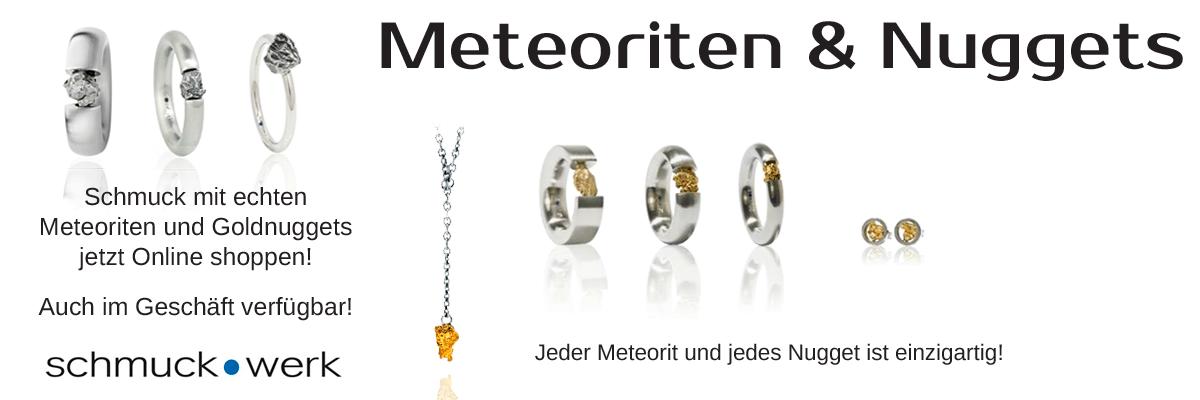 Schmuck aus Meteoriten und Goldnuggets