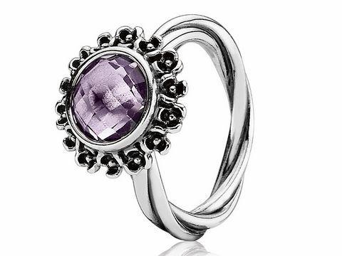 PANDORA 190850PAM52 Sterling Silber Ring Gr 52  lila