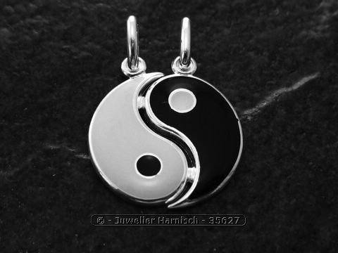 Yin Yang Silber Partner Anhnger  emailliert 35627