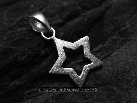 Stern Anhnger 175 mm Sterling Silber gebrstet 37479