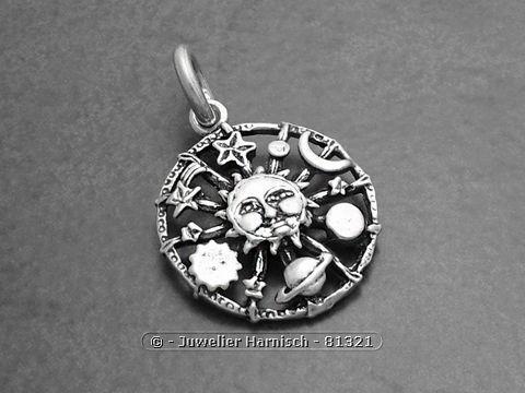 Sonne Mond und Sterne Sterling Silber Anhnger 81321
