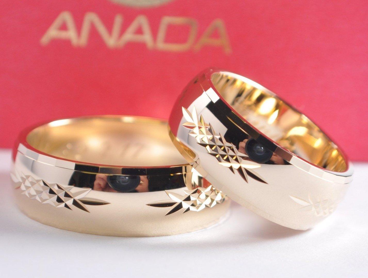1 Paar Gold 585 Trauringe Eheringe Hochzeitsringe mit blitzendem Muster  B 8mm  Trauringe und